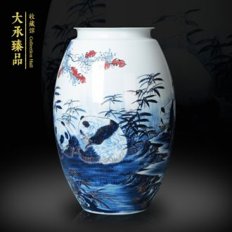 The see colour blue and white porcelain of jingdezhen ceramics vase please auspicious sambo, vases, modern Chinese style household decoration