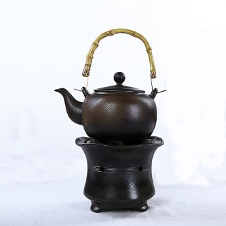 Japanese friend is coarse pottery alcohol furnace to burn the teapot set of TaoLu burn pot of boiled ceramic heat the teapot to the girder