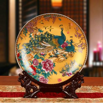 Package mail jingdezhen ceramics colored enamel peony peacock hang dish decoration plate household craft decoration furnishing articles