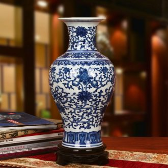 Classic blue and white porcelain of jingdezhen ceramics sweet grain mesa vase Chinese style to decorate the study in the Ming and the qing dynasties and furnishing articles