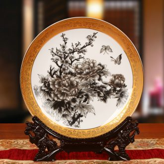 Jingdezhen chinaware paint edge peony butterfly plate faceplate hang dish I household crafts are set