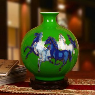 Jingdezhen ceramics gold straw green five steeds vase Chinese sitting room adornment handicraft furnishing articles