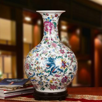 Kowloon, jingdezhen ceramics powder enamel in the days of the reward bottle of large vases, antique Chinese style household crafts