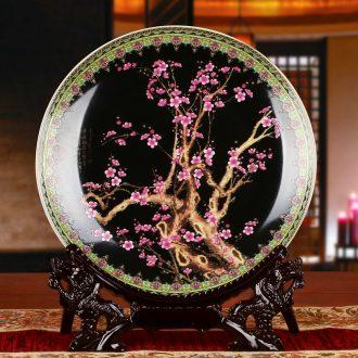 Jingdezhen ceramics red name plum blossom put faceplate hang dish modern household adornment handicraft decoration decoration plate
