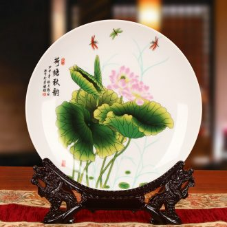 Jingdezhen ceramics powder enamel lotus blue sit hang dish plate faceplate Chinese style classical decoration home furnishing articles