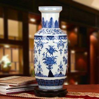 Hand - made peach pomegranates of blue and white porcelain of jingdezhen ceramics sitting room place all around the big vase Chinese study
