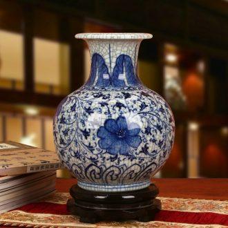 Jingdezhen ceramics hand - made antique porcelain crack glaze flower vases, modern Chinese style classical crafts