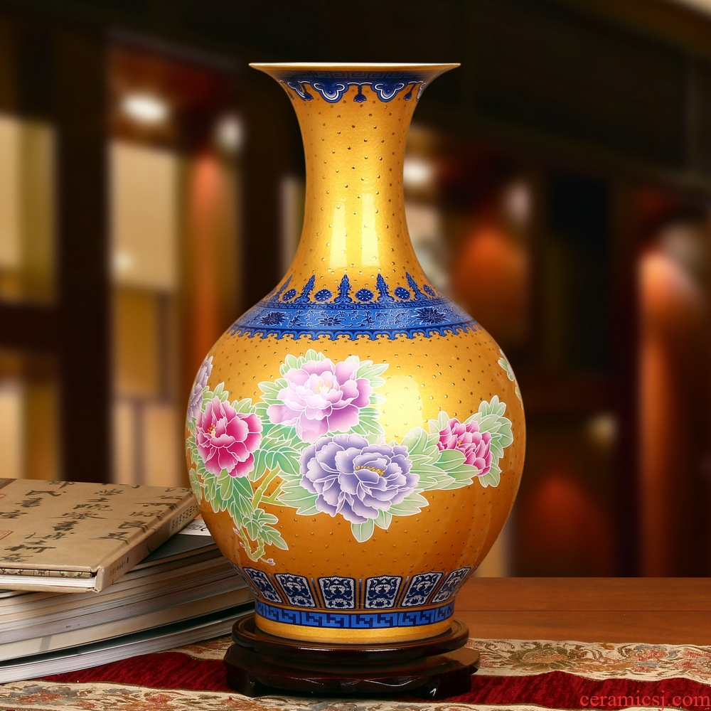 Jingdezhen ceramics high - grade enamel see colour gold peony blue bottle was contracted and I household adornment furnishing articles