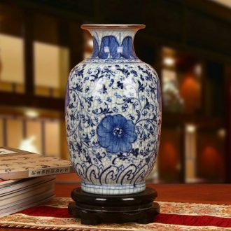 Archaize of jingdezhen ceramics up crack glaze blue and white flower east melon bottles of modern fashion household furnishing articles