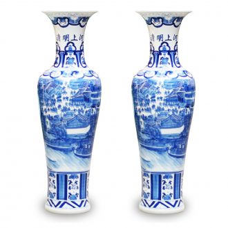Jingdezhen ceramics hand - made ching Ming blue and white porcelain painting kk hotel lobby sitting room adornment is placed