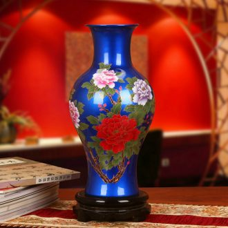 Jingdezhen ceramics high - grade crystal blue glaze glaze peony vases sitting room place, home decoration gifts