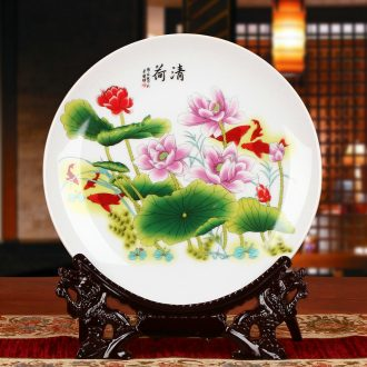 Jingdezhen ceramics rural lotus decoration plate faceplate hang dish I household handicraft furnishing articles