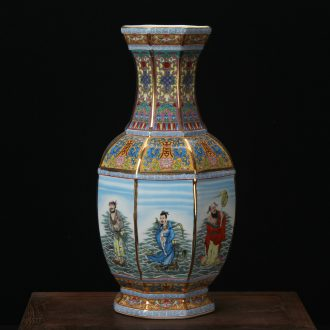 Jingdezhen ceramics enamel vase pastel colored antique furnishing articles - party when the ensemble six bottles of Chinese art deco