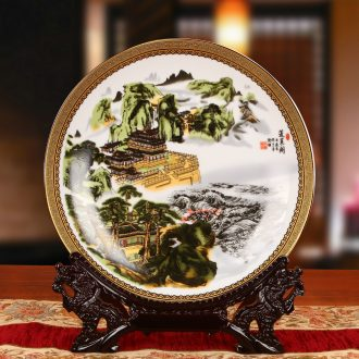 Jingdezhen ceramics penglai pavilion and sit hang dish plate faceplate modern furnishing articles of Chinese style household decoration