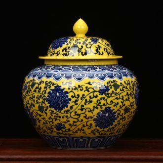 Jingdezhen blue and white flowers around branches yellow glaze ceramic vase large storage tank large caddy fixings decorative furnishing articles