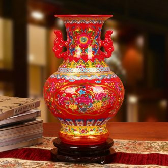 Jingdezhen ceramics glaze crystal Chinese red ears pomegranate flowers vase modern Chinese style adornment furnishing articles