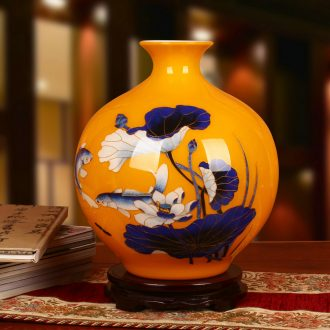 Jingdezhen ceramics high - grade gold fish yellow straw lotus vase sitting room adornment of Chinese style household furnishing articles