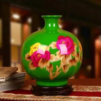 Jingdezhen ceramics vase high - grade straw green, riches and honor peony round vase modern Chinese style household furnishing articles