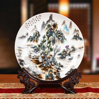Jingdezhen ceramics powder enamel ink painting landscapes by faceplate hang dish furnishing articles of Chinese style household decorative plate