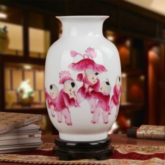 Famous jingdezhen ceramics vase Xia Guoan works upscale gift hand famille rose porcelain lotus the qing the lad bottle
