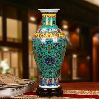 Modern Chinese jingdezhen ceramics enamel see colour green live vase sitting room study bedroom home furnishing articles