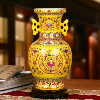 Jingdezhen ceramics high - grade crystal glaze Huang Shuanger branch lotus bottles of contracted and I Chinese style household furnishing articles