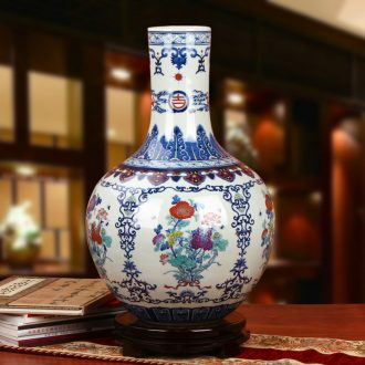 High - grade hand - made porcelain of jingdezhen ceramics bucket color auspicious flower vase classical Chinese style home furnishing articles