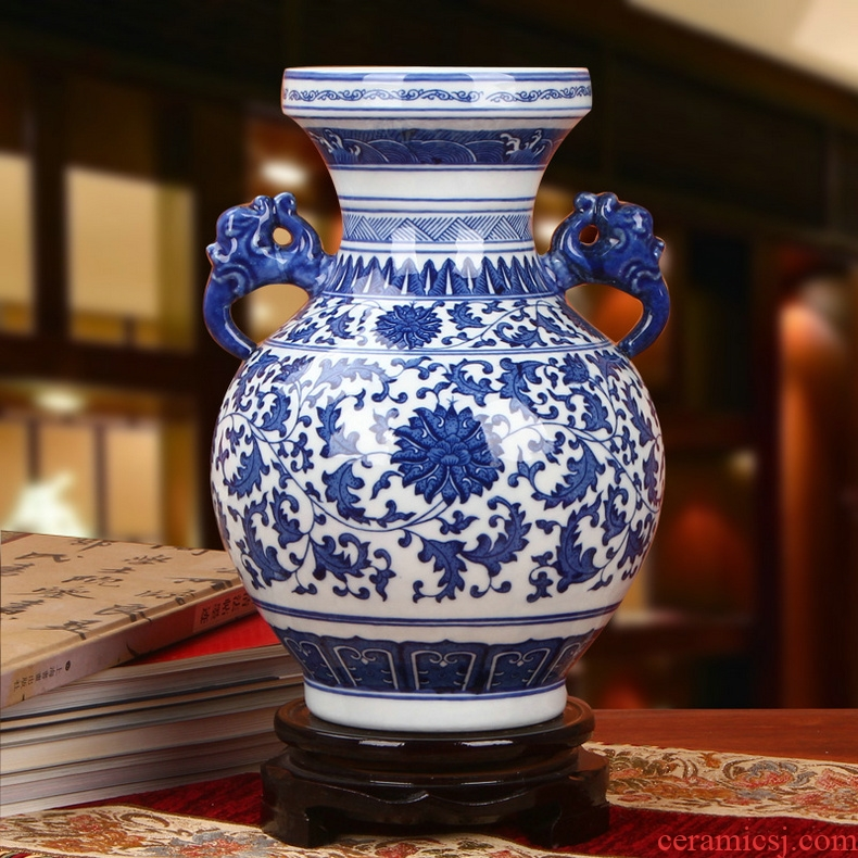 Chinese style is classic blue and white porcelain of jingdezhen ceramics ears branch lotus bottles of I household handicraft furnishing articles