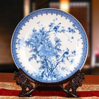 Jingdezhen blue and white peony flower holder plate ceramics faceplate hang dish contracted style decorative furnishing articles