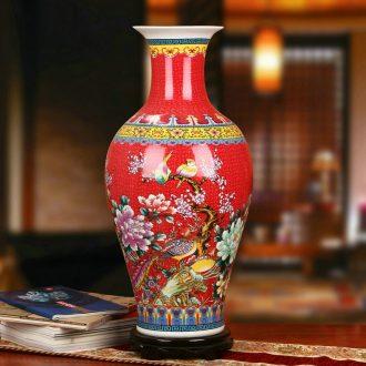 Colored enamel porcelain of jingdezhen ceramics China red peony phoenix flower vase of modern home decoration