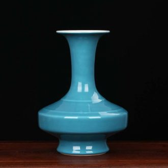 Jingdezhen porcelain industry the azure glaze ceramics founds a flat belly vase Chinese modern decor collection furnishing articles