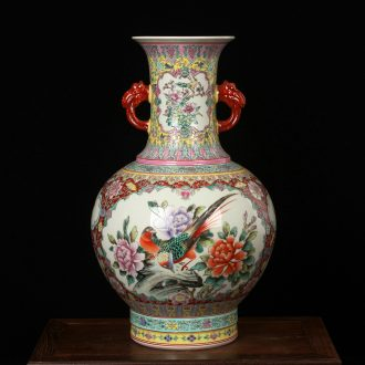 Jingdezhen ceramics powder enamel factory goods and ears of large vases, classical study furnishing articles decorations
