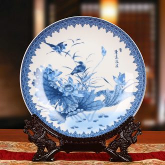 Jingdezhen blue and white ceramics bird teng lotus seat disc hanging dish his Chinese style classical decoration home furnishing articles