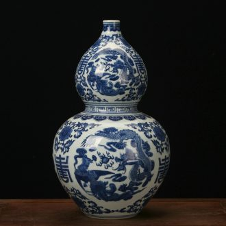 Jingdezhen ceramic vases, high - end antique hand - made in extremely good fortune gourd vases, furnishing articles Chinese style classical decoration