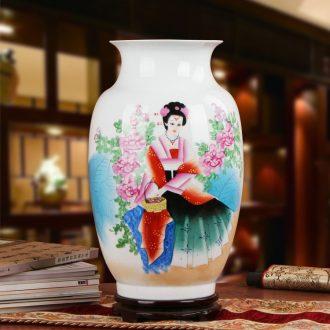 Hu works of jingdezhen ceramics vase high - grade Chinese gift hand famille rose porcelain beauty figure bottles
