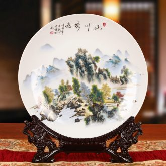 Jingdezhen ceramics pastel landscape sit hang dish plate faceplate Chinese style classical decoration home furnishing articles