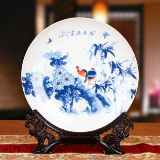 Jingdezhen blue and white ceramics live bird sat faceplate hang dish plate was Chinese style household furnishing articles
