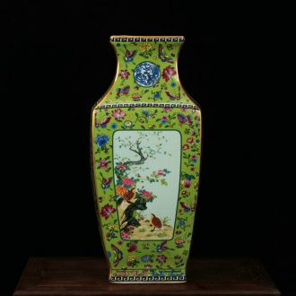 Jingdezhen archaize paint colored enamel grilled modern classical decorative pattern sifang crafts flower vase collection