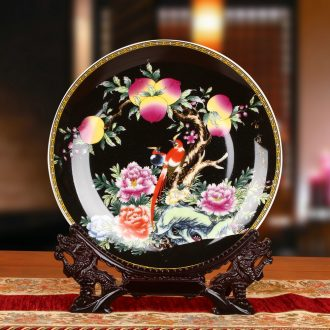 Jingdezhen ceramics enamel see colour black peach sitting home decoration plate faceplate hang dish birthday gifts