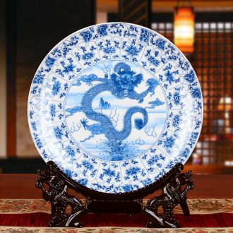 Jingdezhen ceramics QingHuaPan tenglong universal faceplate hang dish Chinese handicraft decoration decoration plate
