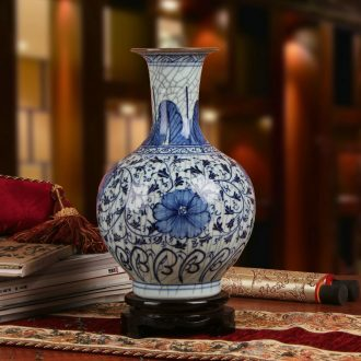Antique blue and white porcelain of jingdezhen ceramics up crack glaze vase modern household adornment furnishing articles