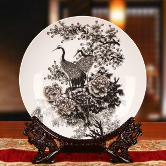 Jingdezhen ceramics, black color paint cranes peony hang dish plate faceplate furnishing articles of Chinese style household decoration