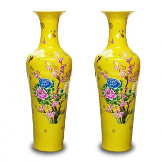Jingdezhen ceramics yellow peony riches and honour of large vase decoration to the hotel lobby sitting room furniture furnishing articles