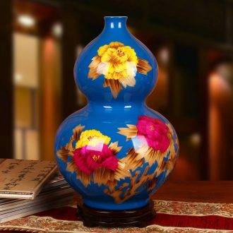 Jingdezhen ceramics blue straw peony riches and honour the gourd vases, modern Chinese style decoration decorative furnishing articles
