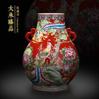 Jingdezhen ceramics enamel enamel hand - made chicken for burn dragon ear vase furnishing articles set sitting room study arts and crafts