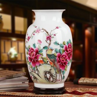 Xia Guoan vase high - grade hand - made works of jingdezhen ceramics powder enamel wealth vase peony flower notes don