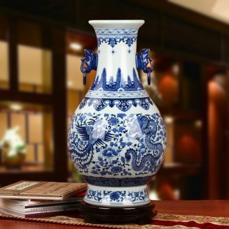 High - grade hand - made of blue and white porcelain of jingdezhen ceramics double elephant ears in extremely good fortune of the big vase classical home furnishing articles