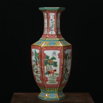Jingdezhen ceramics vase archaize principal colored enamel over the six - party vases, Chinese style household furnishing articles