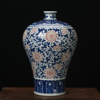 Jingdezhen blue and white youligong high - grade ceramic vases, antique hand - made porcelain lotus flower name plum bottle mesa adornment