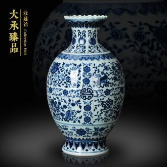 Jingdezhen ceramics hand archaize sweet stripes of blue and white porcelain vase vase m letters treasure cabinet furnishing articles decoration carving
